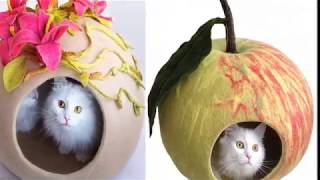 Очаровательные домики для кошек из фетра своими руками