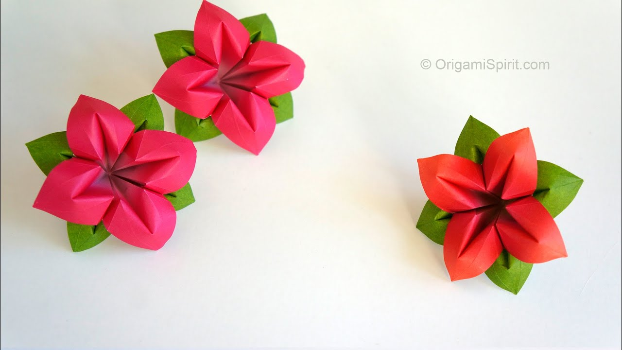 Origami Flower : : Flor de papel 4 Pétalos - YouTube
