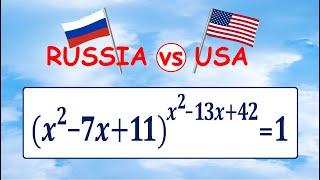 Россия vs США ★ Задача одна – ответы разные ★ Решите уравнение (x^2-7x+11)^(x^2-13x+42)=1