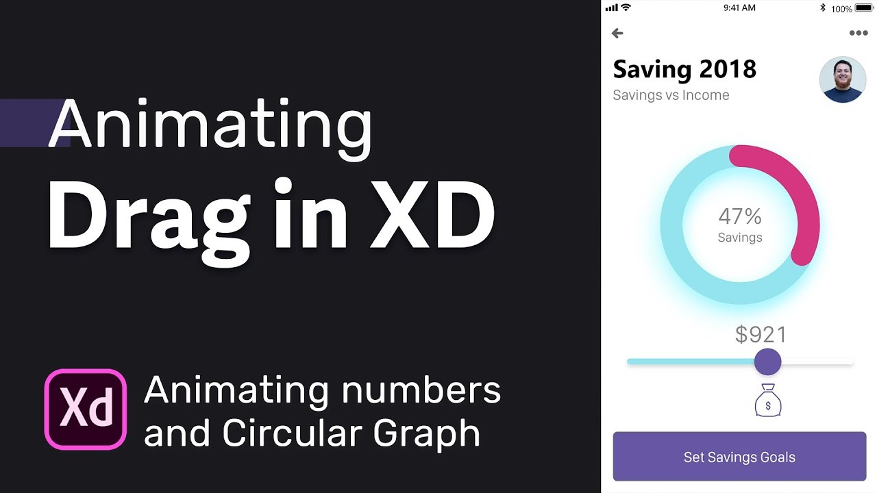 Drag UI Animation in Adobe XD → Animating Numbers with Circular Graph