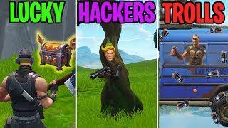 LUCKY vs HACKERS vs TROLLS - Fortnite Battle Royale Moments