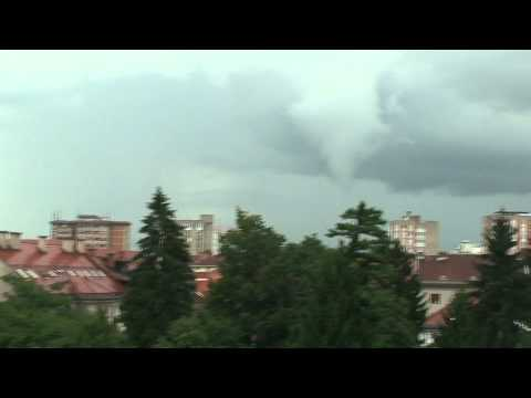Funnel Cloud over city of Ljubljana Slovenia 23.7.2011