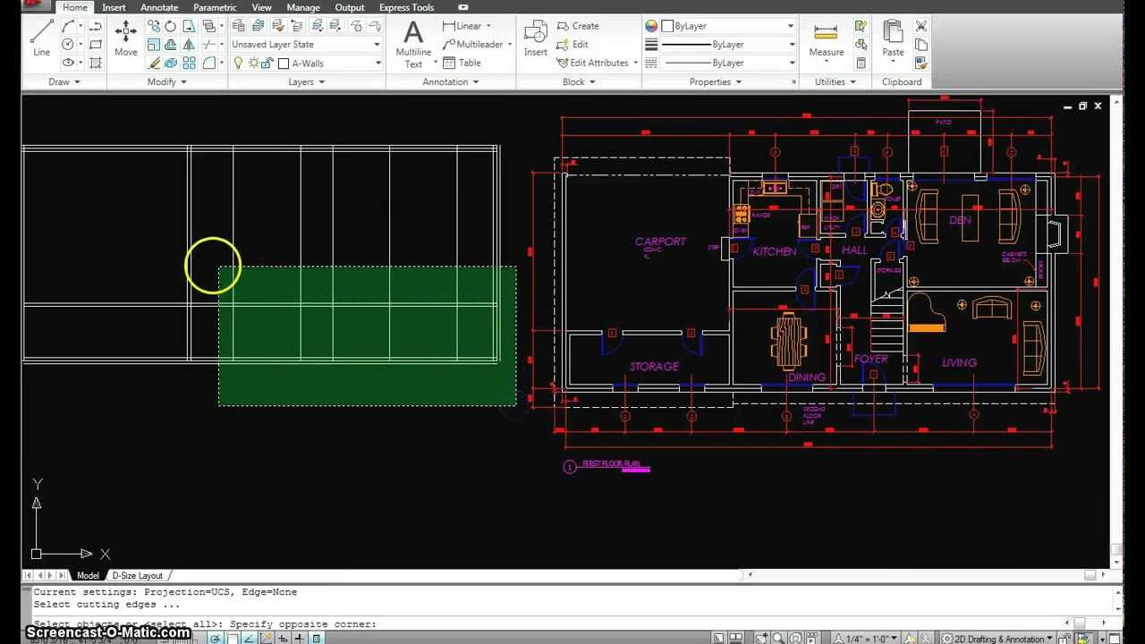 Autocad tutorial 15 first floor plan part youtube - How to design a house plan using autocad ...