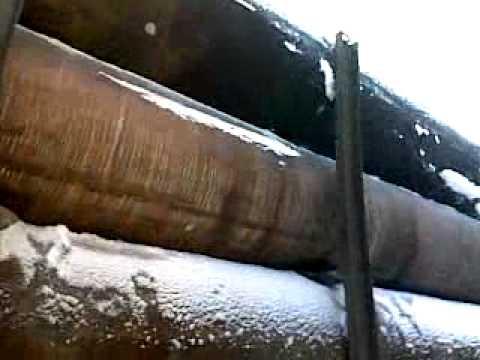Погрузка трубы бу 1020 в тралл, 9 труб