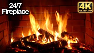 Instrumental Christmas Music 24/7 with live Fireplace 🔥