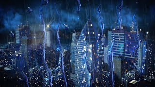 Rain & Thunder in City | Sleep, Study, Focus | 10 Hours Rainstorm White Noise