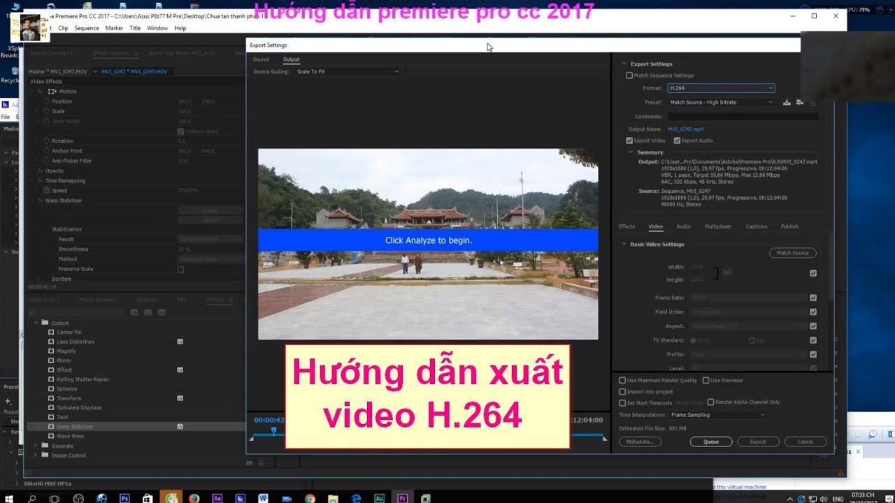 Hướng dẫn xuất FIle video bằng Adobe Premiere Pro CC & Media Encoder