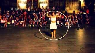 Woman dancing in a Metal Circle