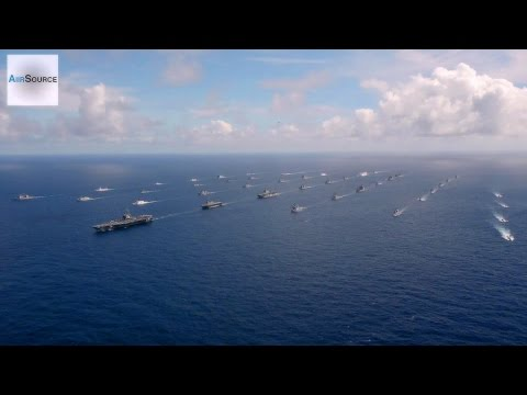 Massive 42 Ships & Submarines Close Formation - U.S. Led RIMPAC Exercise