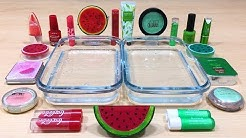 Watermelon Slime | GREEN vs RED ! Mixing Makeup Eyeshadow into Clear Slime ! Satisfying Videos #440