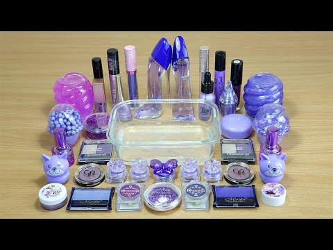PURPLE SLIME Mixing Makeup And Glitter Into Clear Slime Satisfying Slime Videos