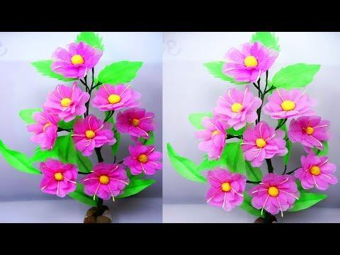 Making Beautiful flower by shopping bag | Beautiful flower craft from shopping bag