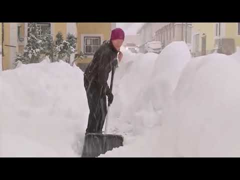Heavy snowfalls in Europe