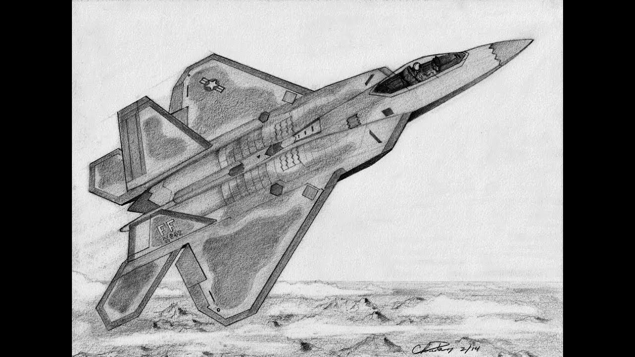 how to draw a f 22 raptor