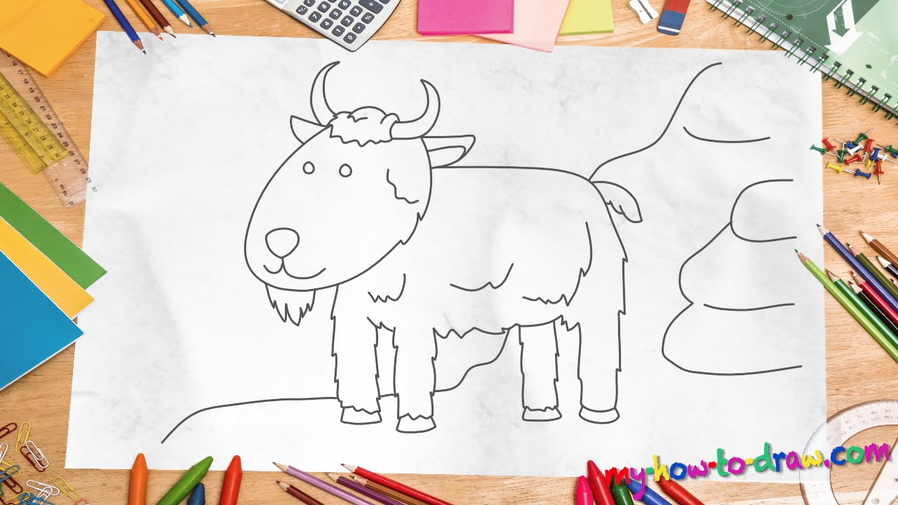 How to draw a goat - Easy step-by-step drawing lessons for ...