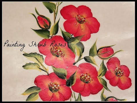 Painting Shrub Roses   Hand Painted Flowers   Tutorial   Aressa   Brushstrokes   2018