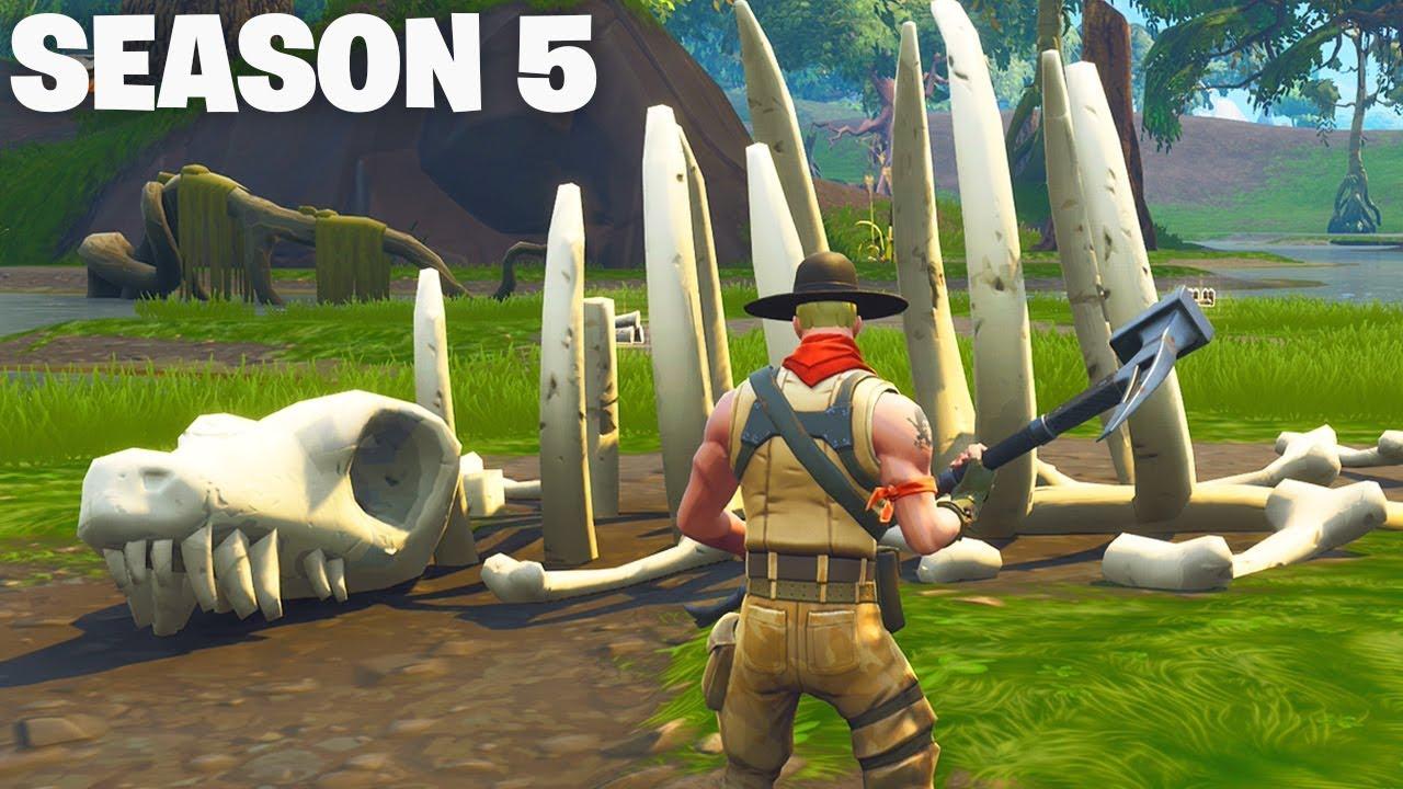 season 5 dinosaur skeleton arrives in fortnite - dinosaure fortnite map