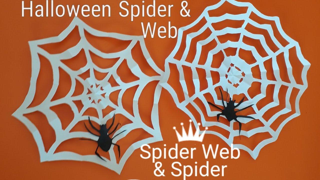 easy halloween craft for kids l halloween paper spider & spider web