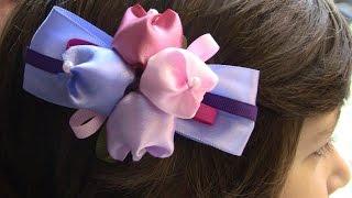 Laço com Tulipas  em cetim  Passo a Passo- TO MAKE ROLLED RIBBON ROSES- fabric flowers