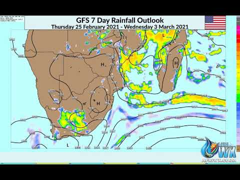 7 Day GFS Synoptic & Rainfall Analysis for Southern Africa