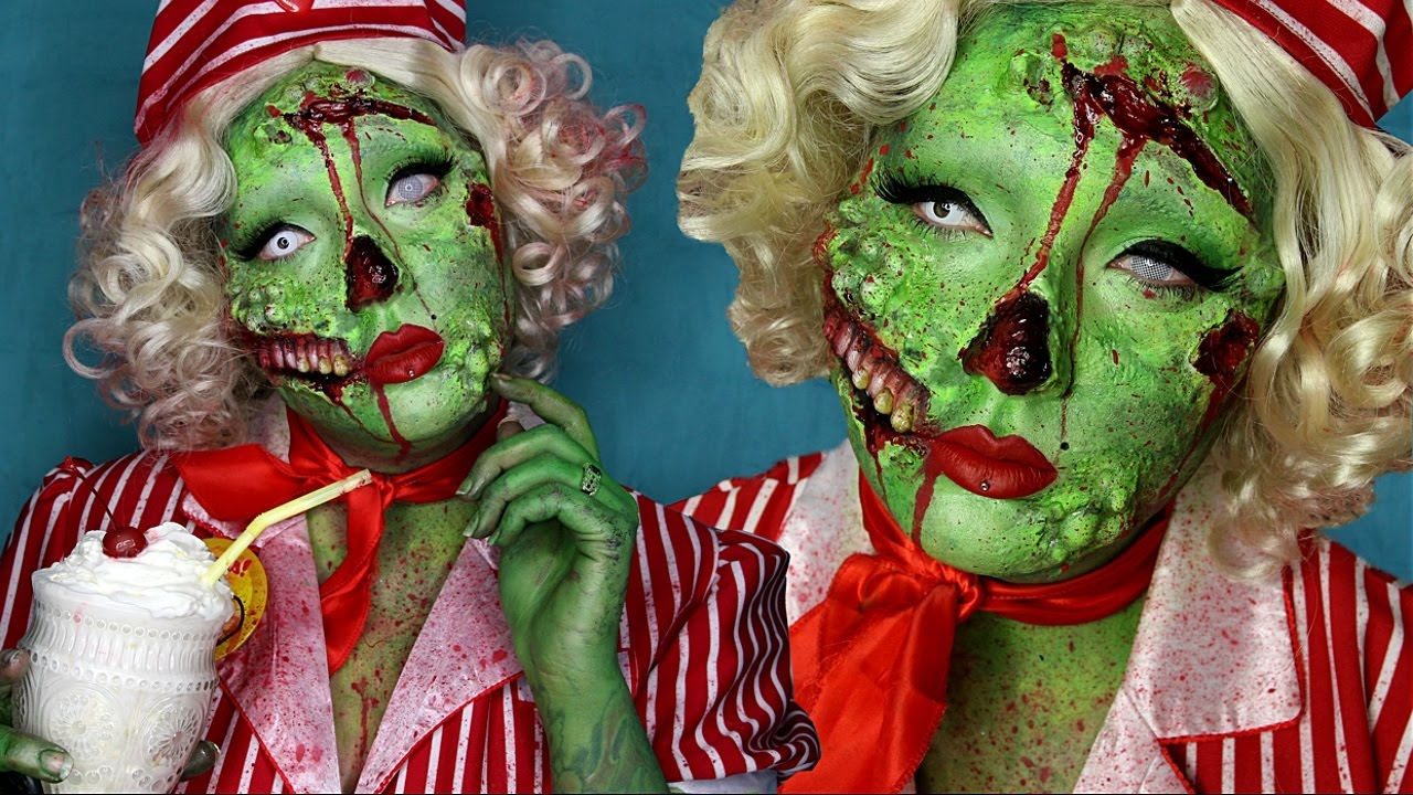pin-up zombie halloween costume makeup tutorial - youtube