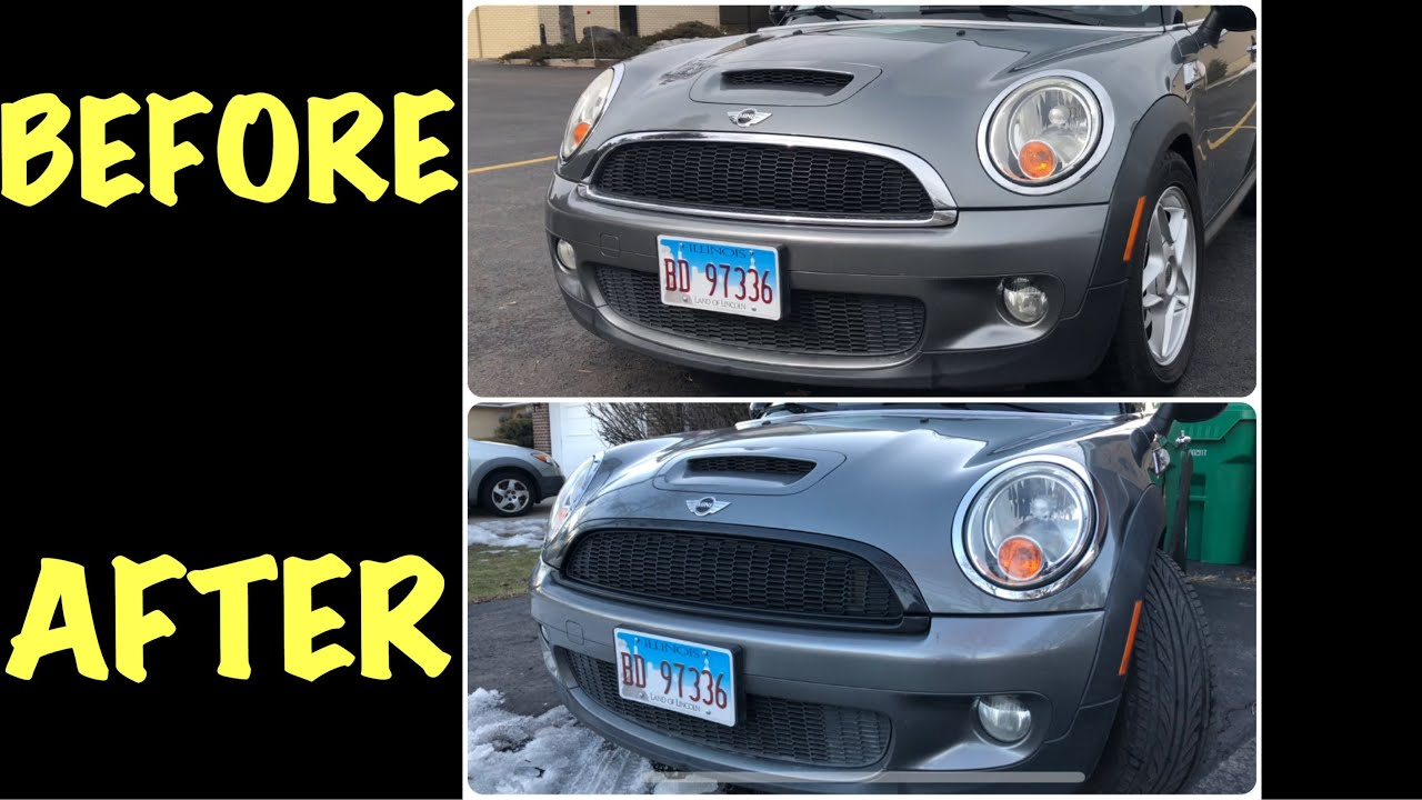 Removing Grill Trim on R56 Mini Cooper S - Installing Black JCW Grill Trim  - Chrome Blackout