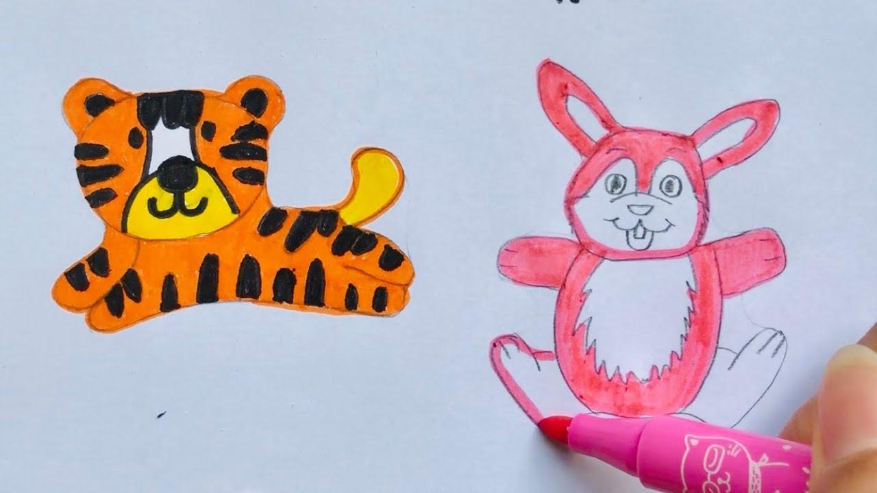 Đồ chơi trẻ em, VẼ & TÔ MÀU ĐỘNG VẬT CON RÙA, THỎ, HEO… Coloring book, toys for kids(Chim Xinh)