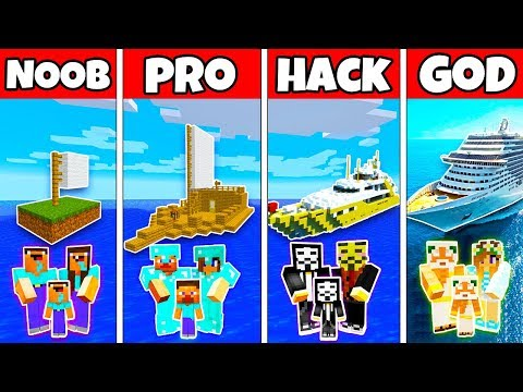 Minecraft: FAMILY BOAT SHIP HOUSE BUILD CHALLENGE - NOOB vs PRO vs HACKER vs GOD in Minecraft