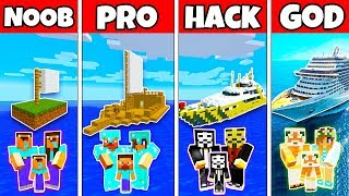 Minecraft: FAMILY BOAT SHIP HOUSE BUILD CHALLENGE - NOOB vs PRO vs HACKER vs GOD in Minecraft