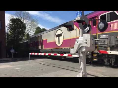 MBTA train with an HSP46 #2003 arriving at Needham Center MA with An Awesome K5LA