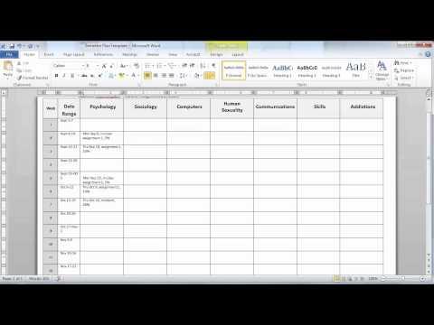Creating a Semester Plan - Essential Study Skills - Subject