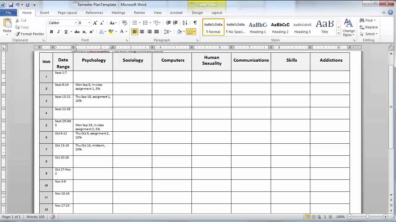 create a semester plan using the template youtube