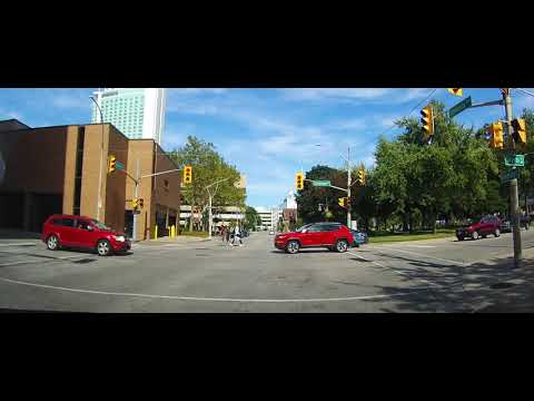 Driving From Downtown Detroit, Michigan To Downtown Windsor, Ontario - Canada