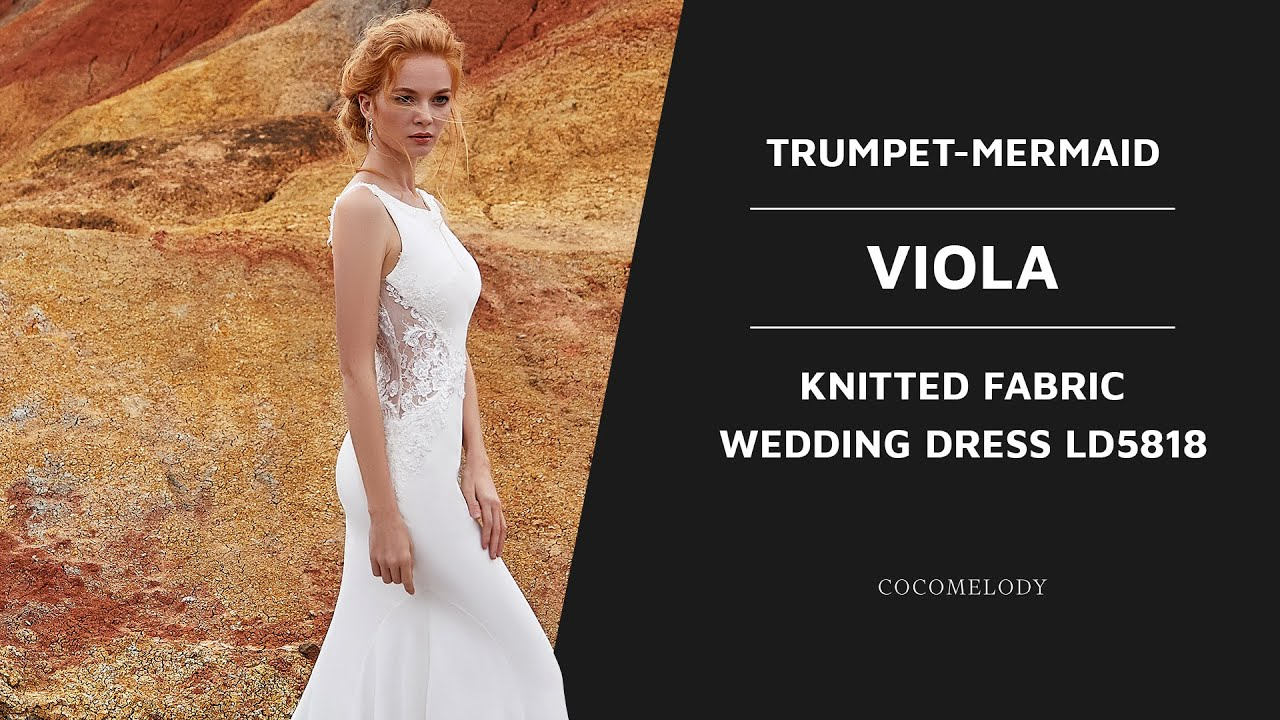 e5a3ad230 Dress VIOLA | Trumpet-Mermaid Court Train Knitted Fabric Wedding Dress  LD5818 | COCOMELODY