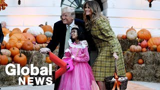 Donald Trump, Melania hand out candy at White House Halloween