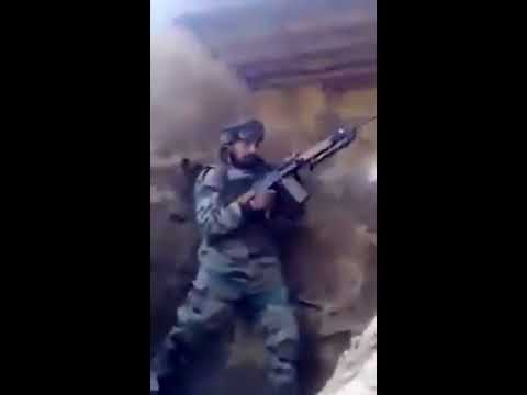 Indian Army soldiers firing back at Pakistani posts during ceasefire violation