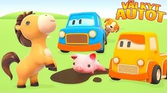Opi maatilan eläinten nimet Välkkyjen Autojen kanssa. Lapset oppivat autojen kanssa.