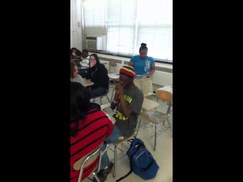 Playing harmonica in class