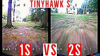 TinyHawk S 1S vs 2S Lipo Comparison - Huge difference! Emax TinyHawk S - Freestyle FPV Flight