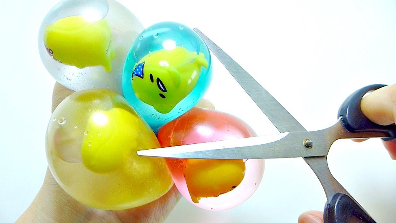 Squishy Toys Cutting : Cutting Open Gudetama Water Squishy Squeeze Toy - YouTube