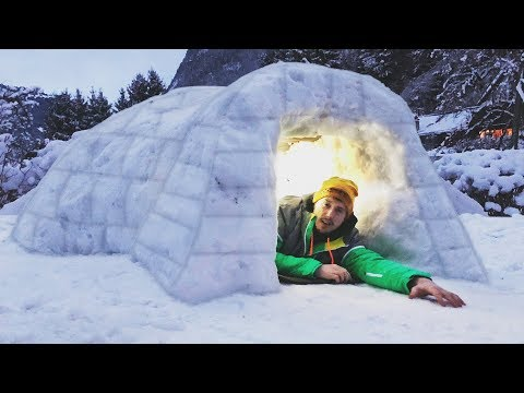 I Built a Homemade Igloo & Spent the Night… Do Not Try at Home! (Snow Fort Challenge)