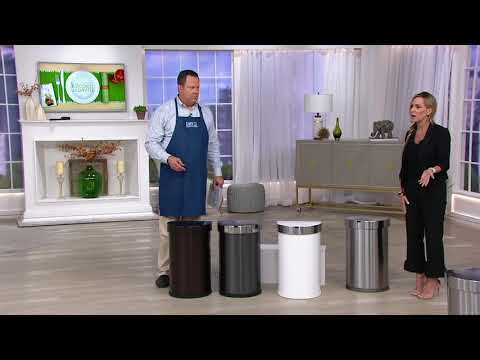simplehuman-45-liter-stainless-steel-sensor-trash-can-with-liners-on-qvc
