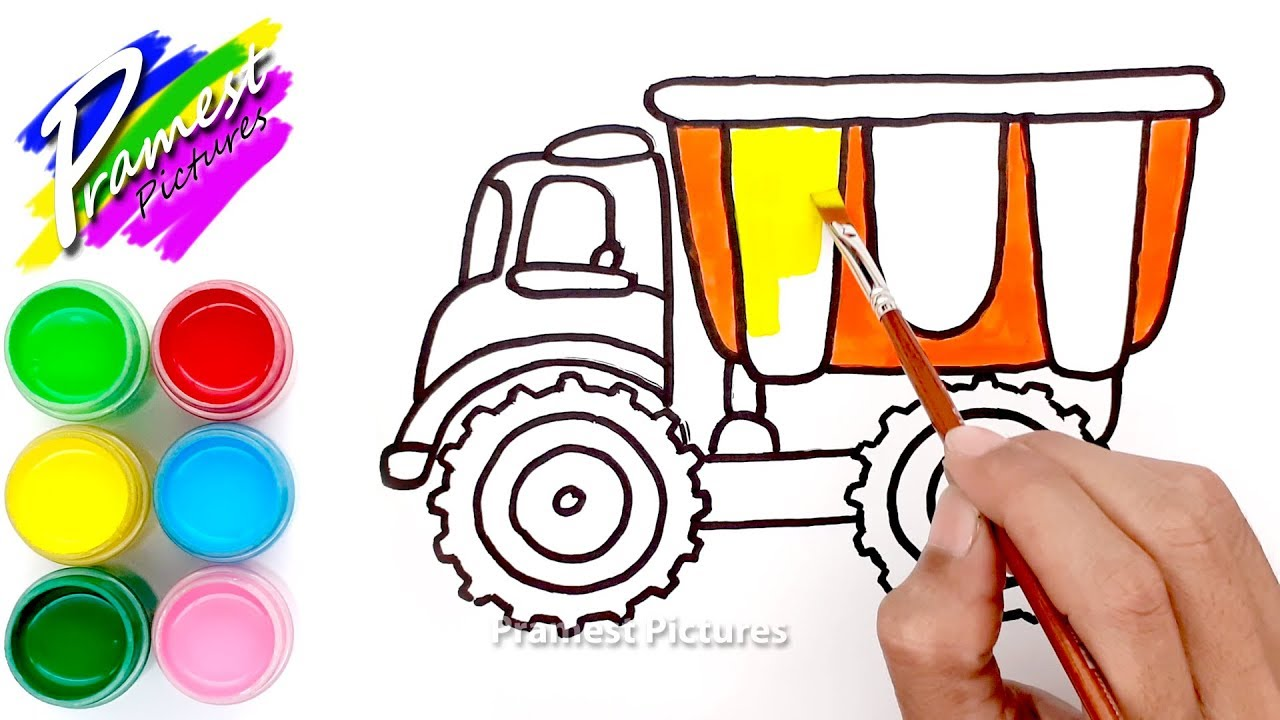 How To Draw Dump Truck Coloring Painting And Drawing For Kids