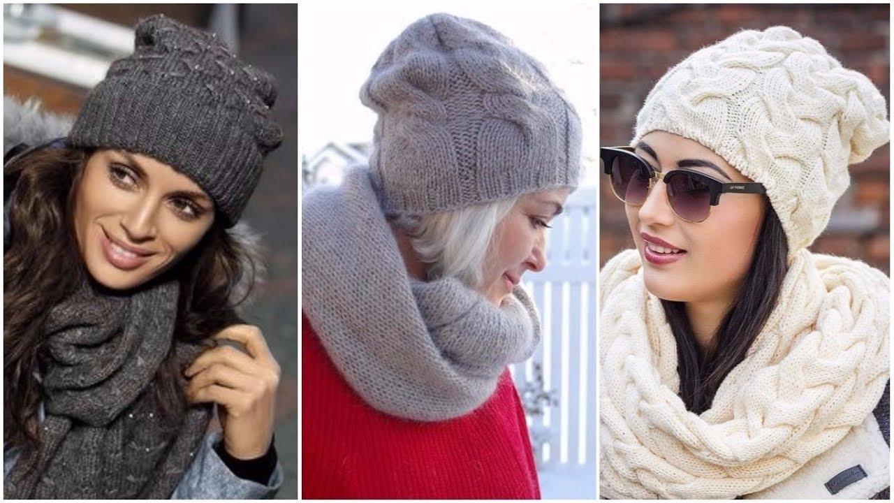 Модные модели вязаных шапок 2020 - YouTube