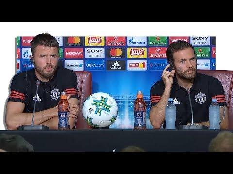 Michael Carrick & Juan Mata Pre-Match Press Conference - Real Madrid v Manchester United - Super Cup