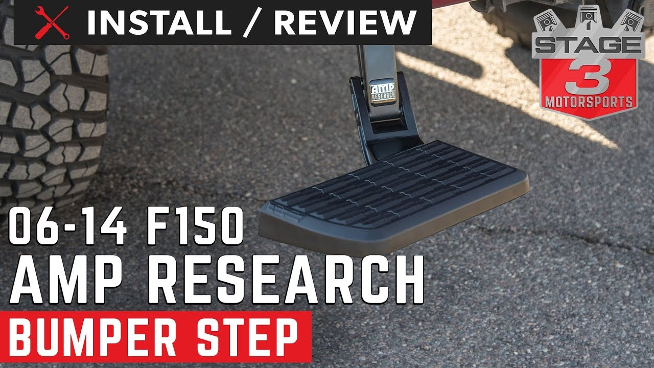 AMP Research 75302-01A BedStep Retractable Bumper Step for 2006-2014 Ford F-150 /& Raptor Excludes Flareside