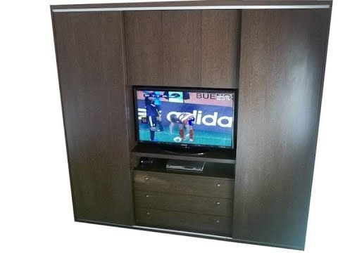 Placard closet ropero mueble con para tv lcd youtube for Closet modernos para habitaciones