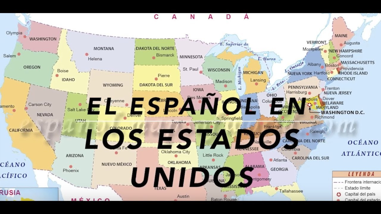 Spanish In The United States YouTube - United states map in spanish