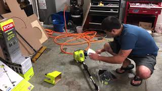 RYOBI 2 cycle straight shaft weed eater UNBOXING AND CRANK