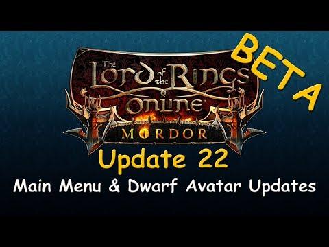 LOTRO Beta News - Update 22 Main Menu & Dwarf Avatar Updates!